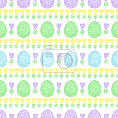 Fototapete Nahtlose Ostereier Muster. Netter Vektorhintergrund mit Ostereiern, Frühlingsblumen und -herzen. Bunte Ostern Illustration auf weißem Hintergrund.