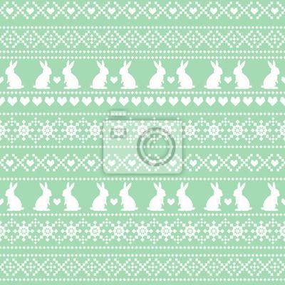 Fototapete Nahtlose Ostern Muster, Karte - skandinavischen Pullover-Stil. Grüne und weiße Vektor Frühling Urlaub Hintergrund. Nette Ostern-Abbildung.