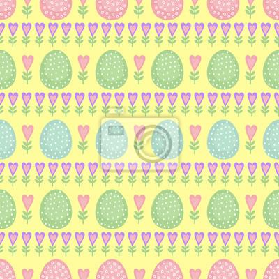 Fototapete Nahtlose Ostern Muster, Karte. Vector Hintergrund mit Ostereiern, Frühlingsblumen und Herzen. Nette Ostern-Illustration auf gelbem Hintergrund.