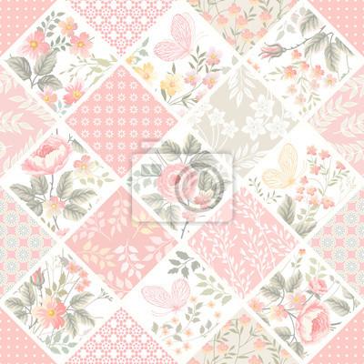 Nahtlose patchwork-muster mit rosen und schmetterlingen in ...