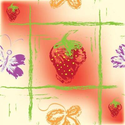 Fototapete Nahtlose quadratische Muster mit Erdbeeren, Blatt und Schmetterling