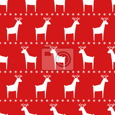 Fototapete Nahtlose Retro Weihnachten Muster - Hirsche und Schneeflocken. Red Happy New Year Hintergrund. Einfache Vektor Winterurlaub Design für Textil-, Tapeten, Geschenkpapier, Stoff, Dekor.