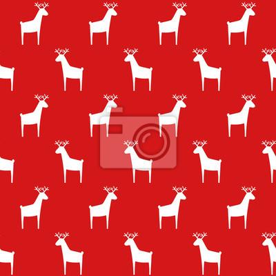 Fototapete Nahtlose Retro Weihnachten Muster mit Hirsch. Roter Hintergrund. Einfache Vektor Winterurlaub Design für Textil-, Tapeten, Geschenkpapier, Stoff, Dekor.