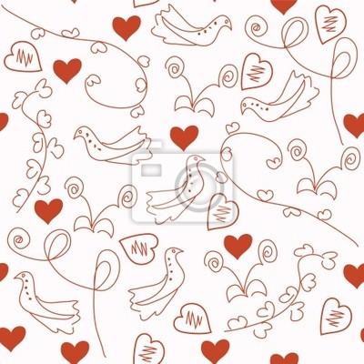 Nahtlose romantisch rot-Muster mit Tauben und Herzen