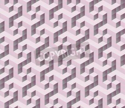 Fototapete nahtlose rosa isometrische 3D-Würfel nahtlose Muster. Abstrakt digitale bunten geometrischen Hintergrund.