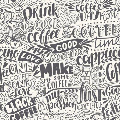 Fototapete Nahtlose Schriftzug Muster mit Zitaten. Hand gezeichnet Vektor-Illustration