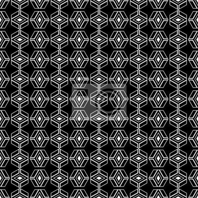fototapete nahtlose schwarz wei dekorativen vektor hintergrund mit abstrakten geometrischen muster drucken - Tapete Schwarz Weis Muster