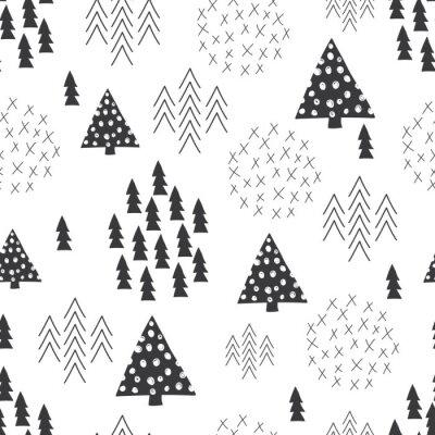 Fototapete Nahtlose skandinavischen Stil einfache Illustration Weihnachtsbaum Hintergrund