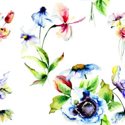 Fototapete Nahtlose Tapete mit stilisierten Blumen