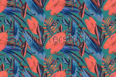 Fototapete Nahtlose tropische Blätter kopieren Hintergrund, Retro- botanischen Schweinestall