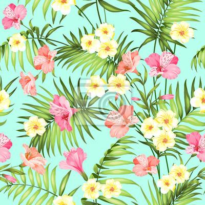Nahtlose tropische blume. plumeria blumen und dschungel palmen ...