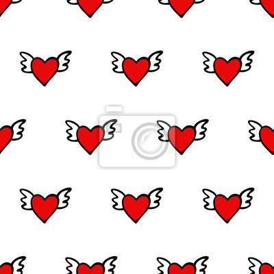 Fototapete Nahtlose Vektor Herz-Muster für Valentinstag. Nette Herzen mit Flügeln. Happy Valentinstag Hintergrund.