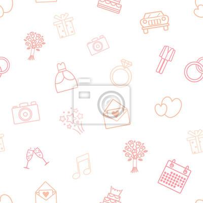 Nahtlose Vektor-Muster der Hochzeit Vektor-Icons. Hochzeitskleid, Klage, Auto, Verlobungsring, Blumenstrauß der Braut, etc. Gut als Hochzeitseinladungshintergrund, Verpackungspapier, als Druck für Ges