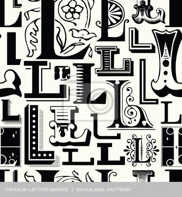 Nahtlose vintage Muster Buchstabe L