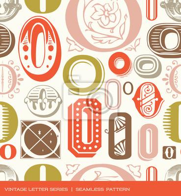 Nahtlose vintage Muster Buchstaben O in Retro-Farben