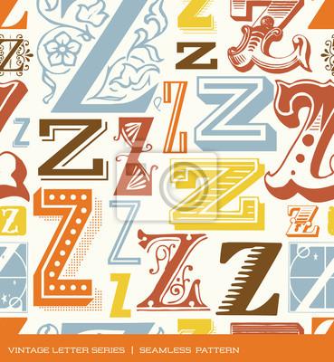 Nahtlose vintage Muster des Buchstaben Z in Retro-Farben