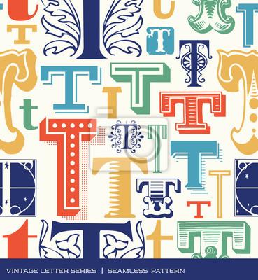 Nahtlose vintage Muster des Buchstabens T in Retro-Farben