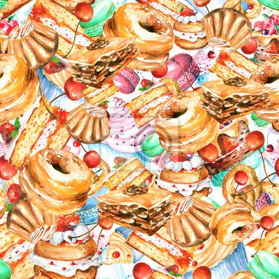 fototapete nahtlose vintage muster mit aquarell vintage zeichnung kuchen desserts makrone - Kuchen Muster
