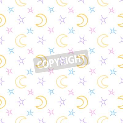 Fototapete Nahtlose weiche Sterne und Mond Baby Nacht Hintergrund. Süße Träume Muster