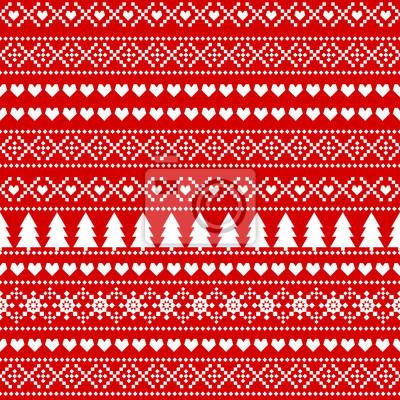 Fototapete Nahtlose Weihnachten Hintergrund, Karte - skandinavischen Pullover-Stil. Einfache Weihnachten Muster - Weihnachtsbäume, Herzen, Schneeflocken auf rotem Hintergrund. Design für Textilien, Tapeten, Gewe
