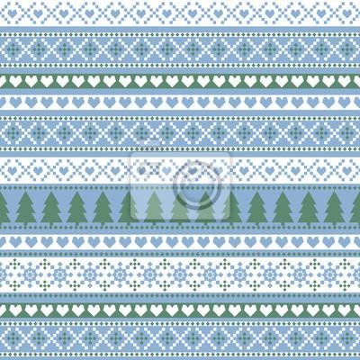 Fototapete Nahtlose Weihnachten Muster, Karte - skandinavischen Pullover Stil. Einfache Weihnachten Hintergrund - Weihnachtsbäume, Herzen und Schneeflocken. Happy New Year Hintergrund. Vector Design für den Wint