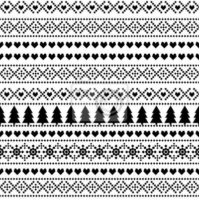 Fototapete Nahtlose Weihnachten Muster, Karte - skandinavischen Pullover Stil. Einfache Weihnachten Hintergrund - Weihnachtsbäume, Herzen und Schneeflocken. Schwarz-Weiß-Vektor-Design für den Winterurlaub.