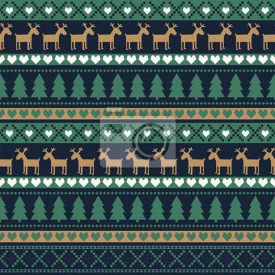 Fototapete Nahtlose Weihnachten Muster, Karte - skandinavischen Pullover Stil. Einfache Weihnachten Hintergrund - Weihnachtsbäume, Hirsche, Herzen und Schneeflocken. Happy New Year Hintergrund. Vector Design für