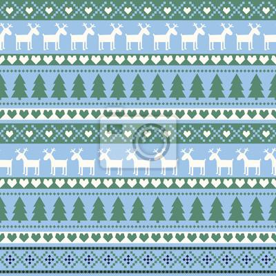 Fototapete Nahtlose Weihnachten Muster, Karte - skandinavischen Pullover Stil. Nette Weihnachten Hintergrund - Weihnachtsbäume, Hirsche, Herzen und Schneeflocken. Happy New Year Hintergrund. Vector Design für de