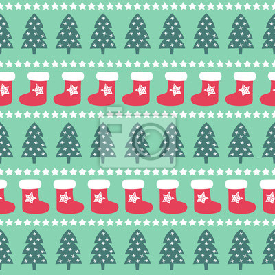 Fototapete Nahtlose Weihnachten Muster - Weihnachtsbäume, Sterne und Weihnachtsstrümpfe. Happy New Year und Merry Xmas Hintergrund. Vector Design für Winterurlaub auf Minze-Hintergrund.