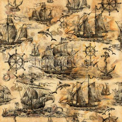 Fototapete Nahtlose Weinlesebeschaffenheit, Tapete auf einem Marinethema, von Hand gezeichnet mit alten Segelbooten, Haifischen, Lenkrädern, Einsparungkreisen und altem Papier.