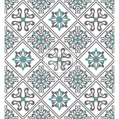 Fototapete Nahtlose Weißen Hintergrund Mit Beige Und Grün Muster Im  Barocken Stil.