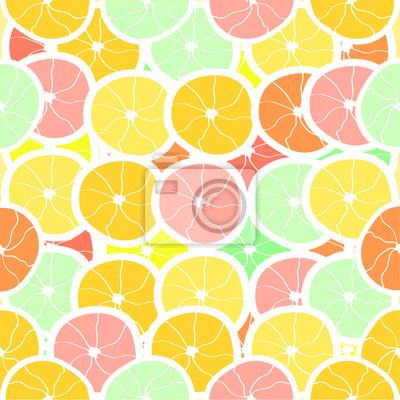 Fototapete Nahtlose Zitrusfrüchte Hintergrund. Abbildung.