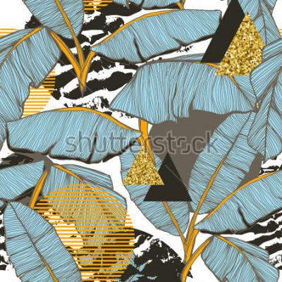 Fototapete Nahtloser Hintergrund mit Bananenblättern
