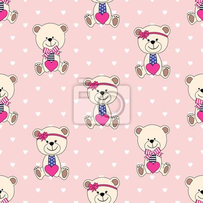 Fototapete Nahtloser Hintergrund mit Bären für den Valentinstag