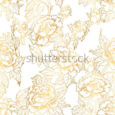 Fototapete Nahtloser Hintergrund mit Pfingstrosenblumen. Vektorillustration ahmt Tintemalerei des traditionellen Chinesen nach. Grafische Hand gezeichnetes Blumenmuster. Textilstoff-Design. Goldenes Einfärben