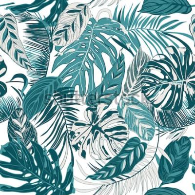 Fototapete nahtloser Hintergrund mit tropischen Blättern