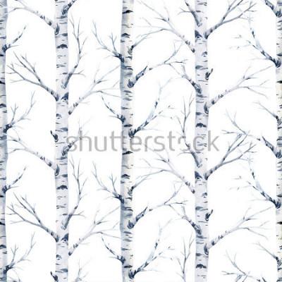 Fototapete Nahtloser Musterbirkenbaum des Aquarells. Wald