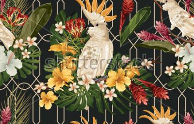 Fototapete Nahtloser tropischer Musterhintergrund mit tropischen Blumen und Cockatoo-Vogel. Tropicanatapete, digitales Papier, Rasterillustration in hawaiischer Art der Weinlese.