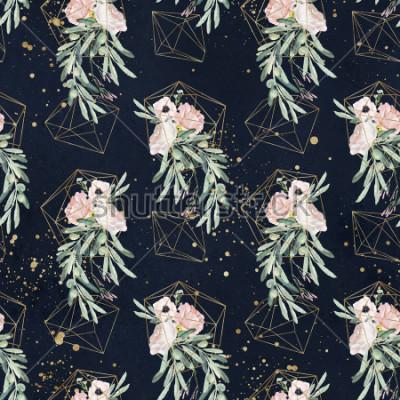 Fototapete Nahtloses Aquarell Olea-Blumenmuster mit Ölzweigen, Blättern, erröten Blumensträuße, Farbe spritzt und Goldgeometrische Formen auf schwarzem Hintergrund