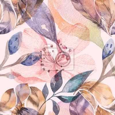 Fototapete Nahtloses Aquarellmuster Boho von Federn und von wilden Blumen, von Blättern, von Zweigblumen, von Illustration, von Liebe und von Federn, böhmische Dekorationsfrühlingsblüte