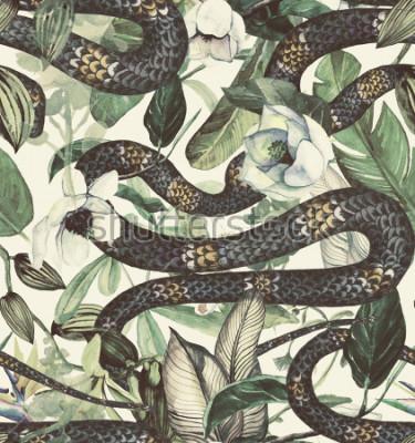 Fototapete Nahtloses Aquarellmuster mit tropischen Blumen, Magnolie, orange Blume, Vanilleorchidee, tropische Blätter, Bananenblätter