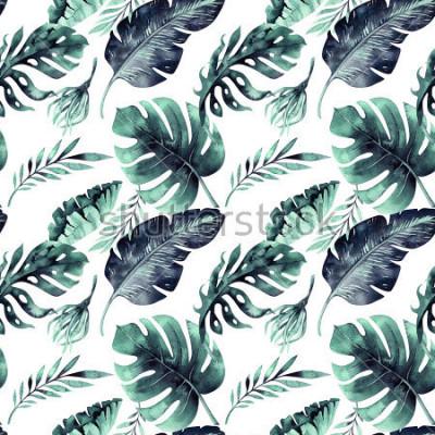 Fototapete Nahtloses Aquarellmuster von tropischen Blättern, dichter Dschungel. Handgemaltes Palmblatt. Textur mit tropischer Sommerzeit kann als Hintergrund-, Packpapier-, Textil- oder Tapetendesign verwendet w