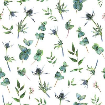 Fototapete Nahtloses Blumenmuster mit grünem Eukalyptus, fieweweeds und Blättern des Ruscus auf Weiß. Frühlingspflanzen. Botanischer natürlicher Hintergrund eigenhändig gezeichnet mit farbigem Bleistift
