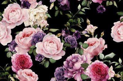 Fototapete Nahtloses Blumenmuster mit Rosen, Aquarell