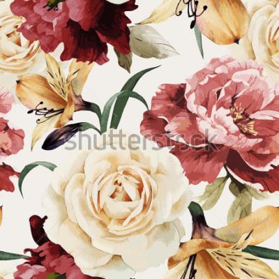 Fototapete Nahtloses Blumenmuster mit Rosen, Aquarell. Vektor-Illustration