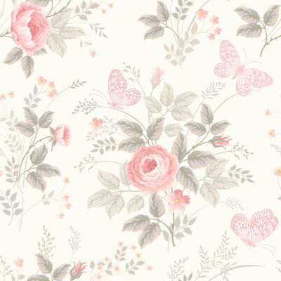 Fototapete Nahtloses Blumenmuster mit Rosen in Pastellfarben