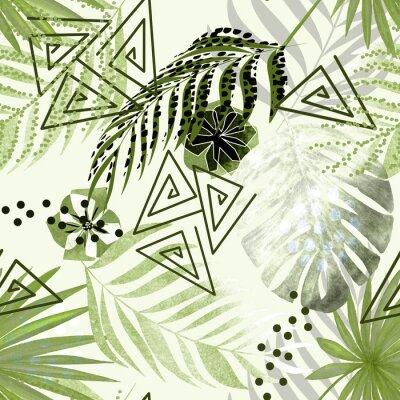 Fototapete Nahtloses buntes tropisches Muster. Grüne Palmblätter, Blumen weißer Hintergrund.