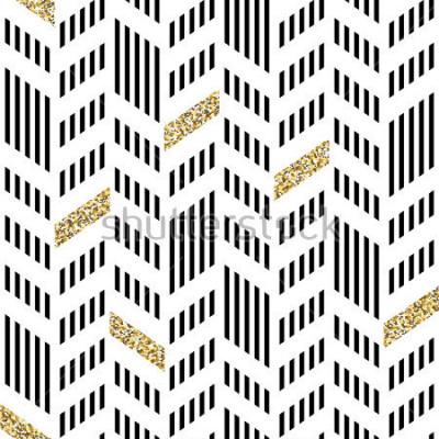 Fototapete Nahtloses Chevron-Muster. Mit glitzerndem Gold und dünnen Linien
