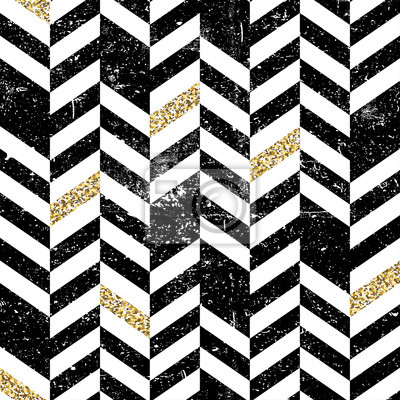 Nahtloses Chevron-Muster mit glitzernden Gold-Elementen