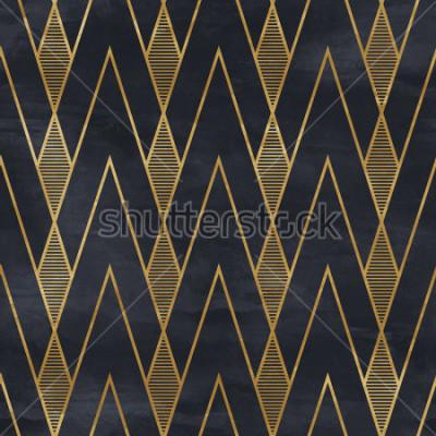 Fototapete Nahtloses geometrisches Muster auf Papierbeschaffenheit. Art Deco Hintergrund,